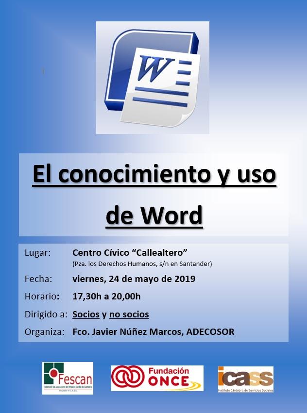 TALLER: EL CONOCIMIENTO Y USO DE WORD