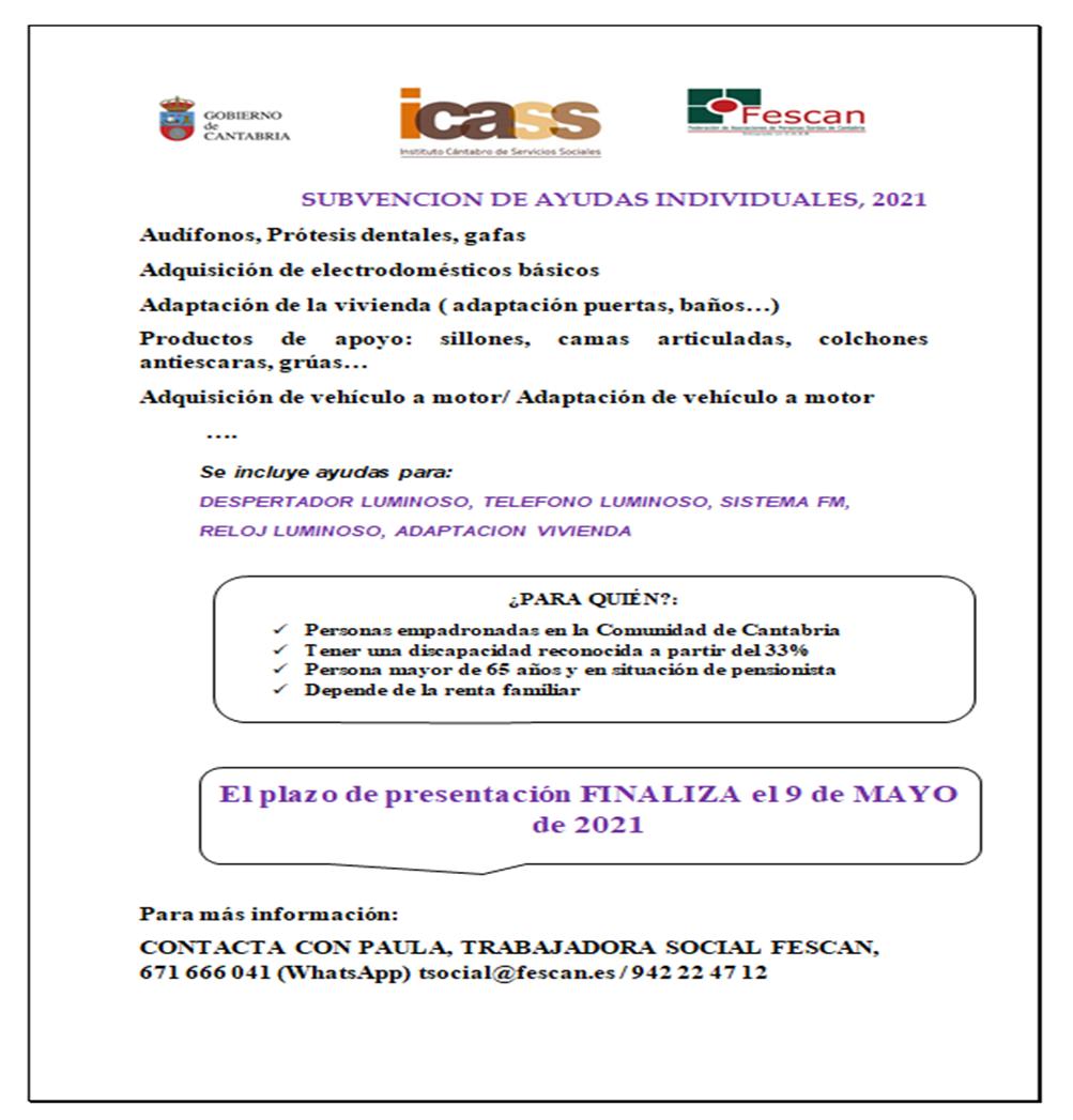SUBVENCIONES AYUDAS INDIVIDUALES 2021