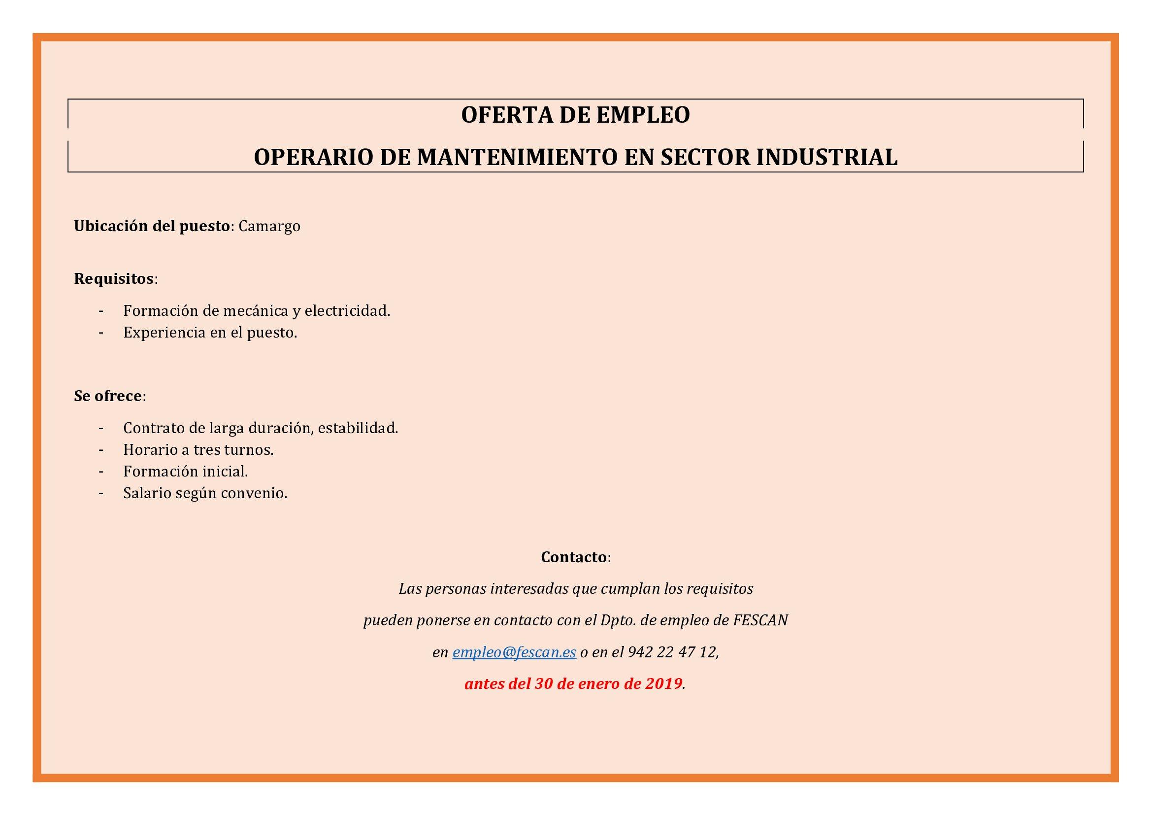 OFERTA DE EMPLEO OPERARIO DE MANTENIMIENTO