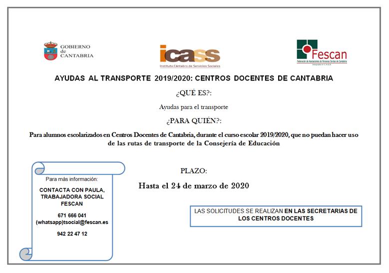 AYUDAS DE TRANSPORTE PARA EL CURSO ESCOLAR 2019 / 2020