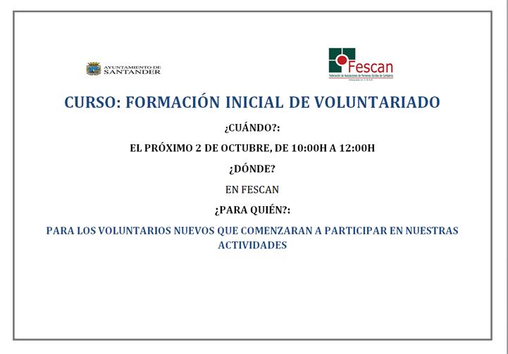 FORMACIÓN INICIAL PARA VOLUNTARIOS DE FESCAN