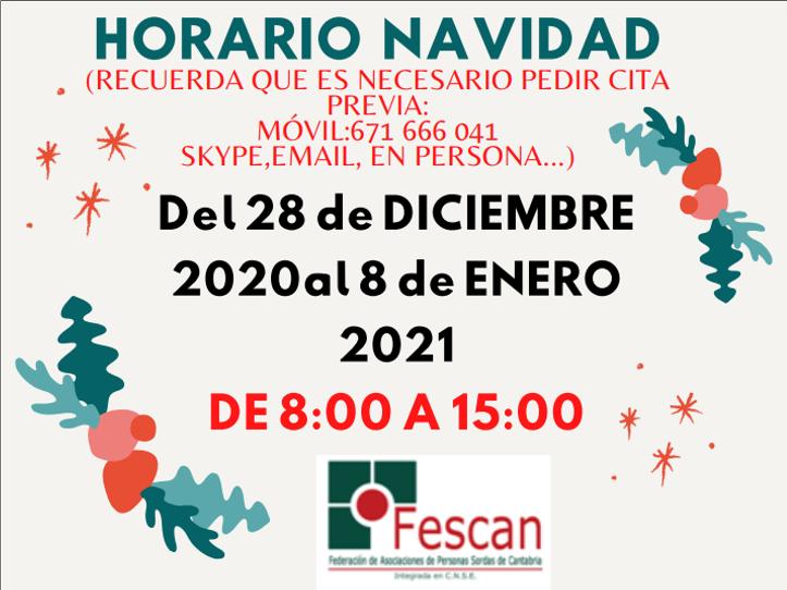 HORARIO DE FESCAN DURANTE LAS FIESTAS