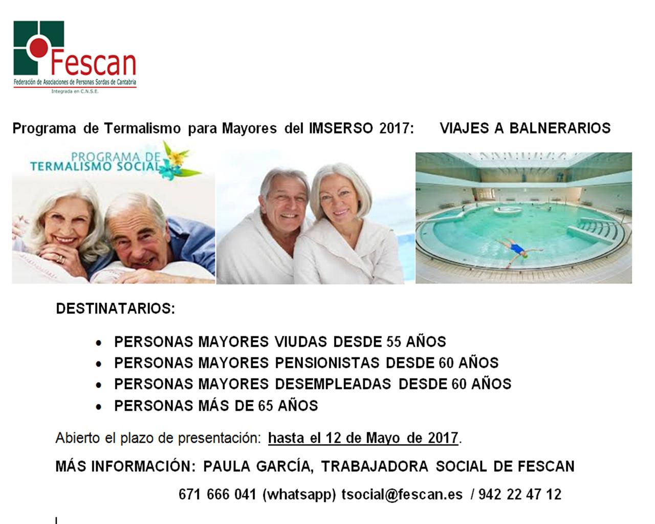 Programa de termalismo para mayores IMSERSO 2017: Viajes a balnearios